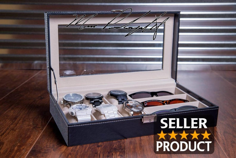 Sunglass and Watch Case Watch Box Engraved Combo Jewelry image 0