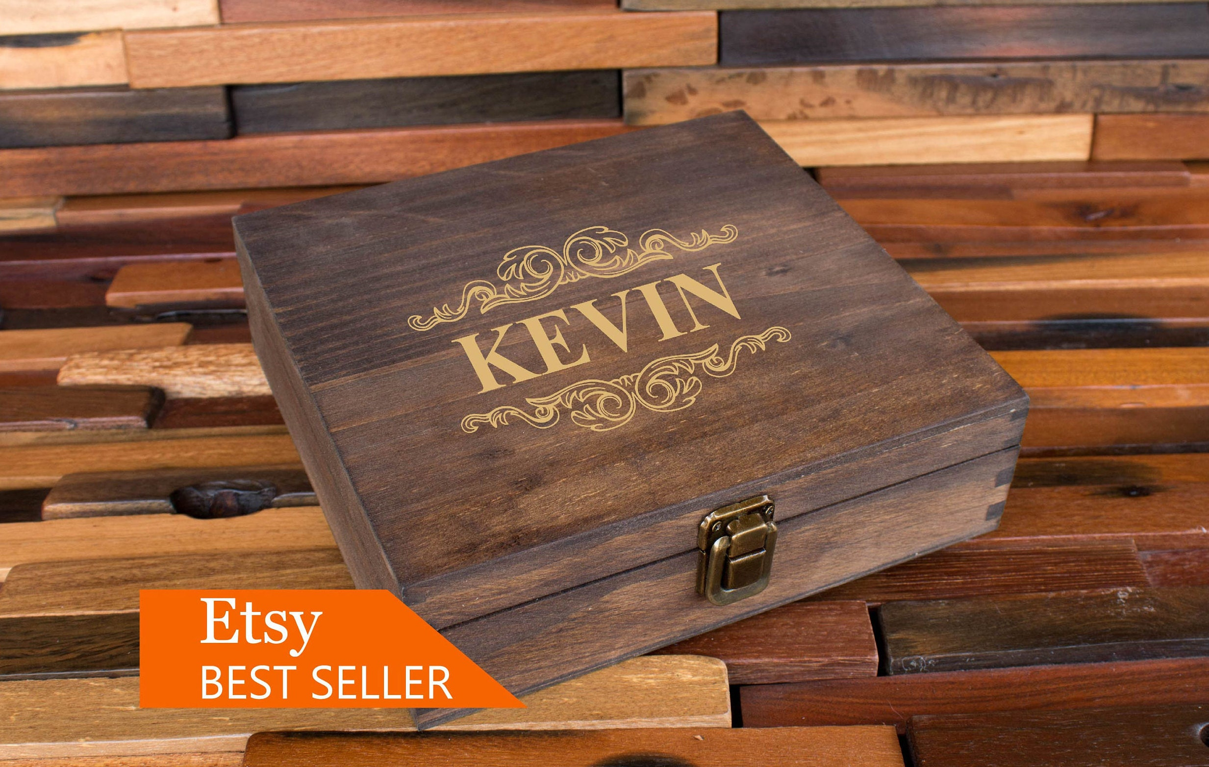 Rustic Cigar Box Groomsmen Cigar Box Best Man Gift Wooden