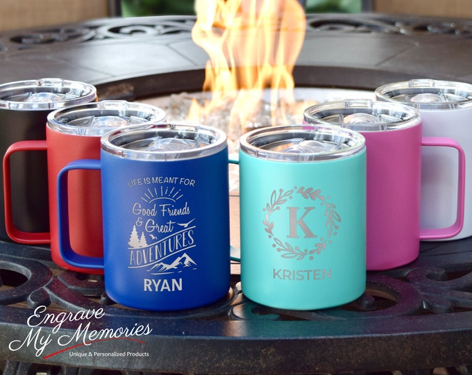 Custom Camping Mug, Insulated Mug, Adventure Mug, Hiking Camp Mugs, Metal Coffee Mugs, Campfire Mug, Couples Coffee Gift, Coffee Gift