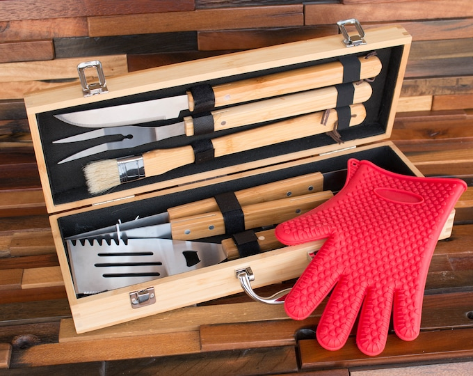 Grill Gift Set, BBQ Grilling Tools, Personalized BBQ Set, Barbecue Gift, Engrave Grill Tool, Grill Case, Man Grill Gift Idea, Gift for Grill