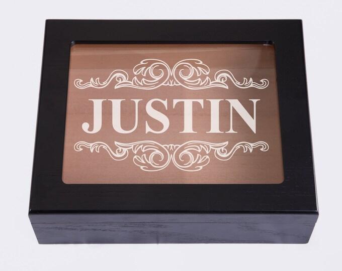 Personalized Memory Keepsake Box, Custom Engraved Glasstop Wood Box, Wedding Bridesmaid Groomsmen Gift Box, Jewelry Box, Mothers Fathers Day
