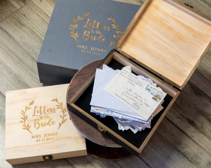 Letters to the Bride, Bridal Box Gift, Engagement Gift Box, Advice to the Bride, Wedding Card Box, Bride Gift, Bridal Shower Gift,Future Mrs