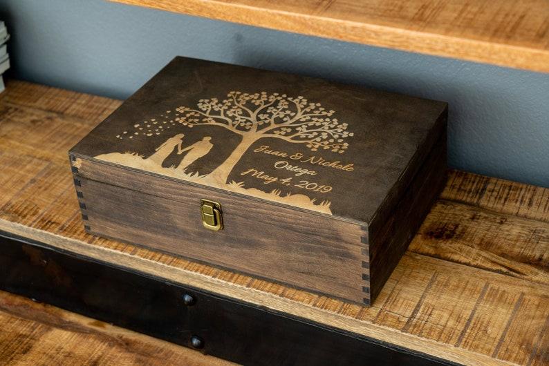 Wood Memory Box Rustic Wooden Keepsake Box Personalized image 0
