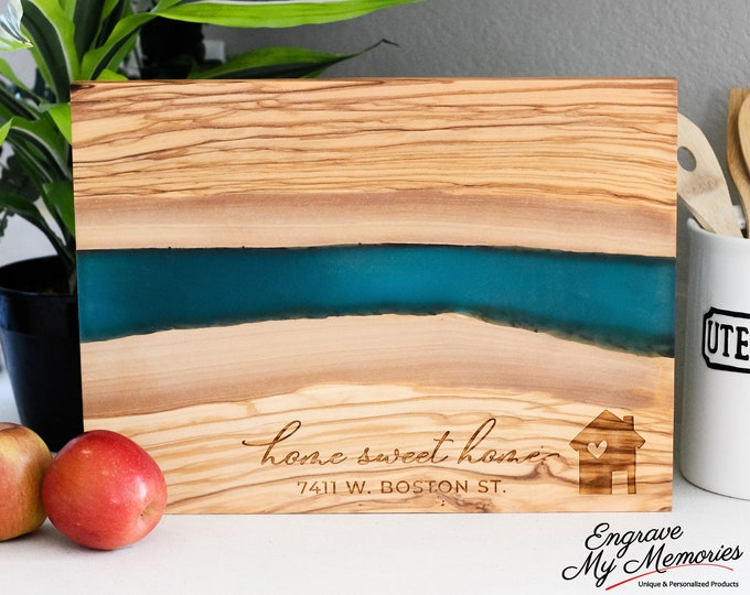 Personalized Charcuterie Board, New Home Gift, Live Edge Serving Board, Custom Closing Gift, Resin Chopping Board, Wood Serving Board