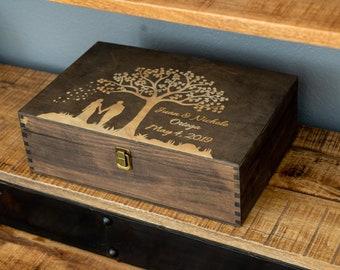Wood Memory Box, Rustic Wooden Keepsake Box, Personalized Engraved Gift Box, Wedding Memory Chest, Jewelry or Photo Box, Couple's Custom Box