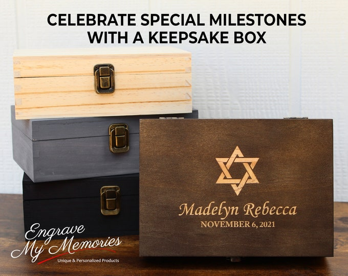 Bar Mitzvah Keepsake Box, Hebrew School Gift, Bar Mitzvah Gift, Star of David Gift, Bat Mitzvah Gift, Personalized Bar Mitzvah, Bris Gift