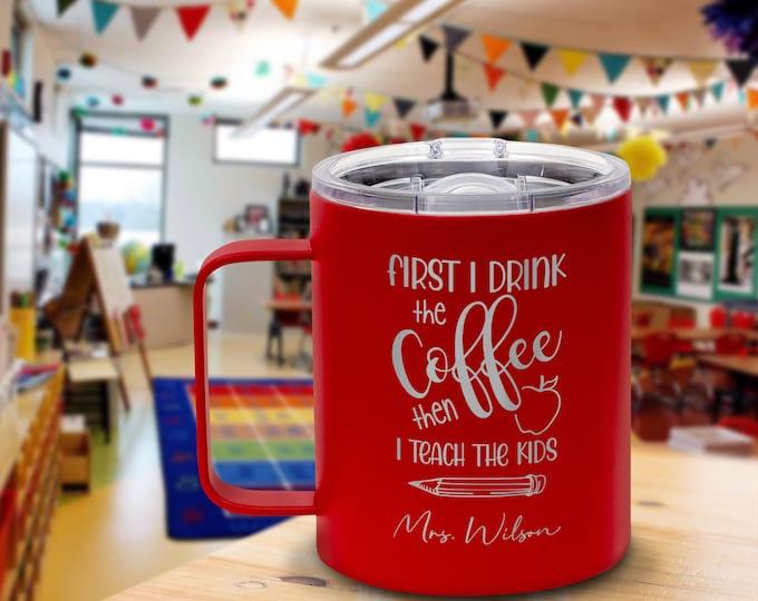 Teacher Mug, Teacher Name Mug, Personalized Teacher Gift, Metal Coffee Mug, Teacher Appreciation, Coffee Mug, Coffee Gift, Gift for Mentor