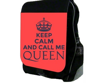 Keep Calm and Call Me Queen Large Black School Backpack