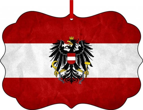 Austrian Flag Benelux Aluminum Christmas Ornament With A Red Etsy
