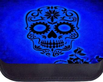 Blue Grunge Sugar Skull Print - Black Pencil Bag - Pencil Case