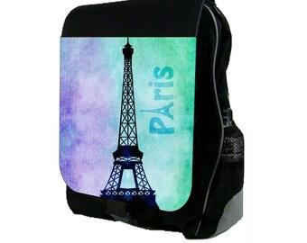 Watercolor Grunge Paris Design Large Black School Backpack