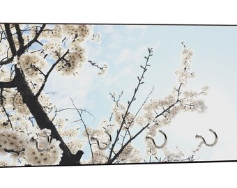 """White Flower Blossoms on Branches Design - 5"""" by 11"""" Key Hanger Household Decoration with Four Hooks"""