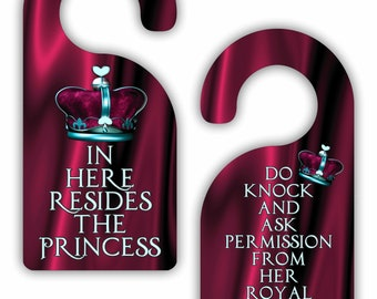 In Here Resides the Princess / Do Knock and Ask Permission.. - Funny - Cute - Novelty - Crown - Girls Double-Sided Room Door Sign Hanger
