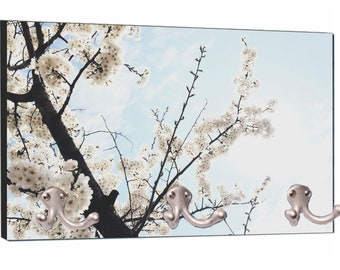 """White Floral Almond Blossoms on Branches Print Design - 8"""" by 16"""" Mountable Coat Hanger Rack"""