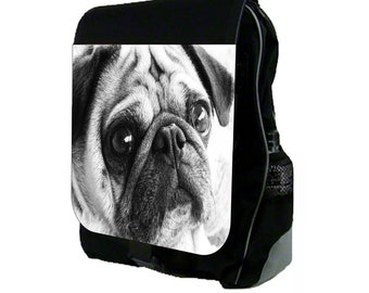 Black and White Pug Large Black School Backpack