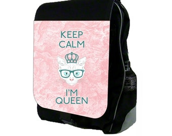 Keep Calm I'm Queen Large Black School Backpack