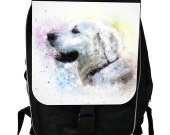 Watercolor Golden Retriever Puppy Dog - Black School Backpack