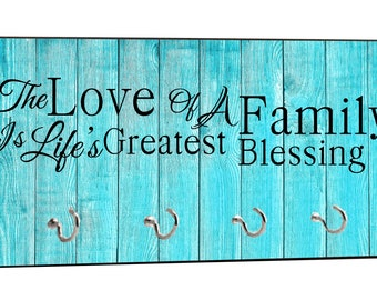 """Love of a Family - Life's Greatest Blessing - On Blue Wood Print - 5"""" by 11"""" Key Hanger Household Decoration with Four Hooks"""