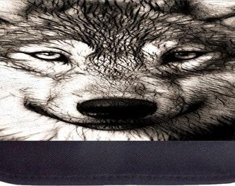 Grey Wolf Up-Close - Black Pencil Bag - Pencil Case