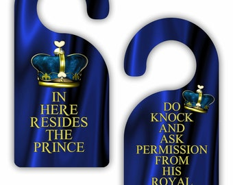In Here Resides the Prince / Do Knock and Ask Permission.. - Funny - Cute - Novelty - Crown - Boys Double-Sided Room Door Sign Hanger