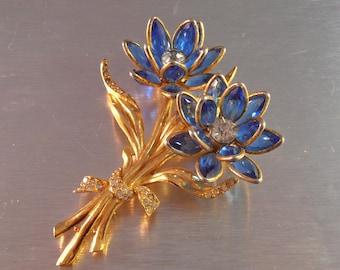 "Trifari style Rhinestone Flower Brooch, Open Bezel Set Cobalt Blue, Dimensional Statement 3.5"""