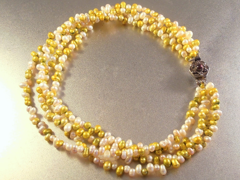 a99344a58c065 Freshwater Pearl Torsade Necklace with Etruscan Sterling Garnet Clasp, 4  Strands Golden Yellow & Cream Pearls