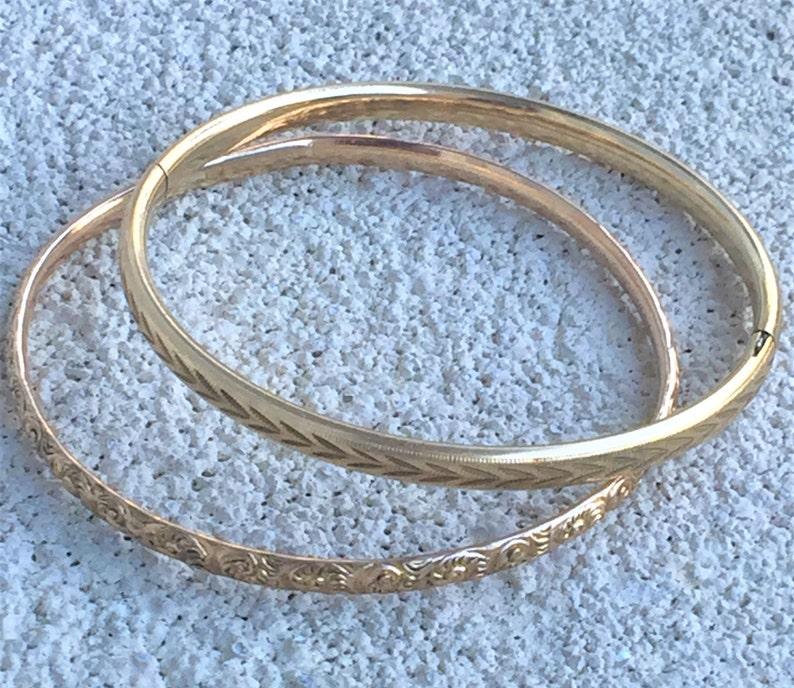 Pair Victorian Gold Filled Bangle Bracelets Diamond Cut Marathon /& Repousse Floral Stacking Bracelets