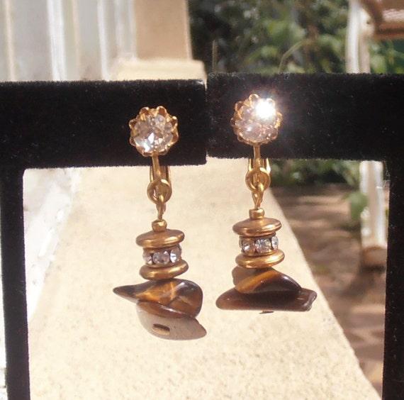 Miriam Haskell Rhinestone Dangle Earrings, Adjusta