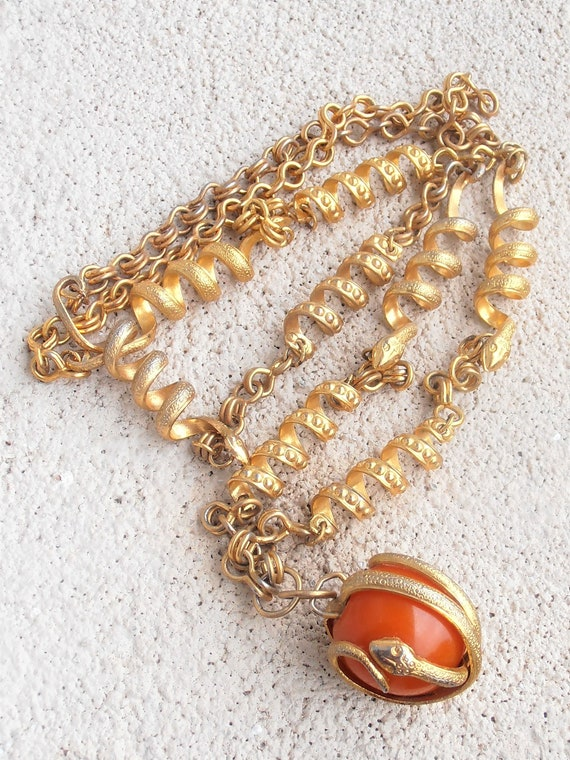 Snake Link Necklace, Butterscotch Amber Pendant E… - image 2