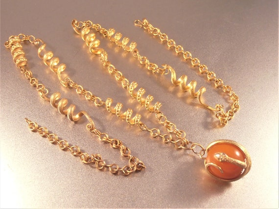 Snake Link Necklace, Butterscotch Amber Pendant E… - image 7