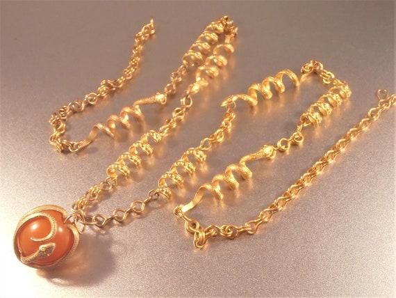 Snake Link Necklace, Butterscotch Amber Pendant E… - image 9