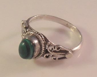 Sterling Malachite Ring, Size 5.5, Bezel Set