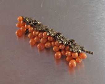 Coral Glass Grape Bunch Brooch, Edwardian Silver Plate Vines
