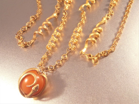 Snake Link Necklace, Butterscotch Amber Pendant En