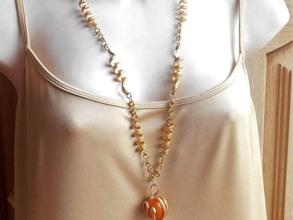 Snake Link Necklace, Butterscotch Amber Pendant E… - image 8