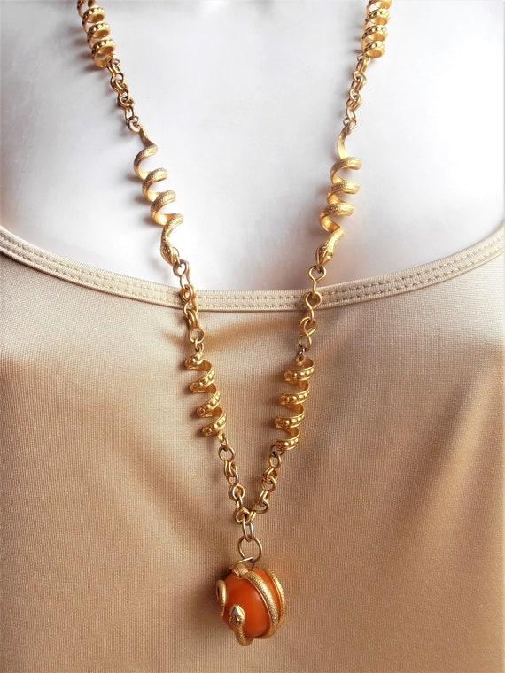 Snake Link Necklace, Butterscotch Amber Pendant E… - image 3