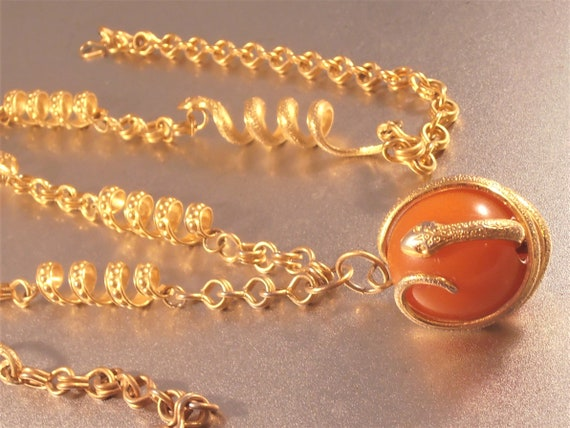 Snake Link Necklace, Butterscotch Amber Pendant E… - image 4
