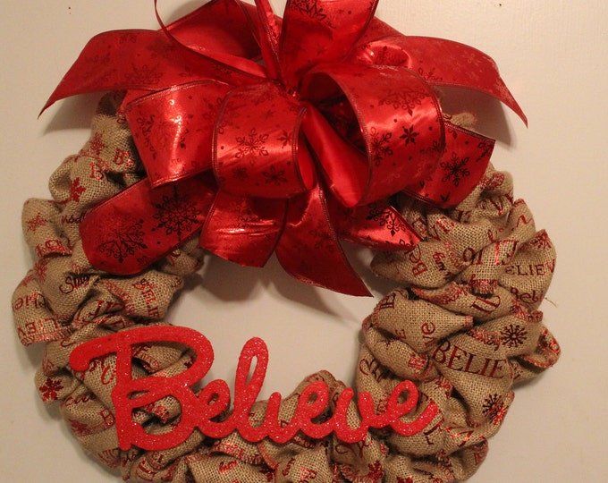 Featured listing image: Believe Christmas Wreath