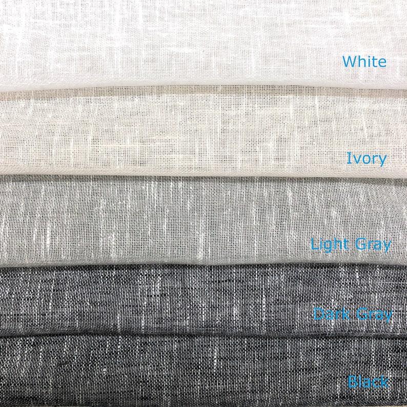 Light Gray Dark Gray Ivory Black 5 COLORS  Linen Blend Sheer Solid Linen  White