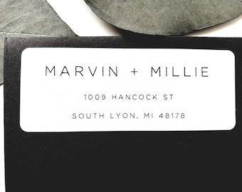 Custom minimalist return address labels with modern minimalist text