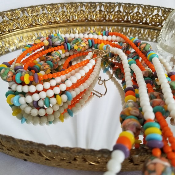 Dazzling Costume Jewelry 1920s Flapper Style Necklace Multi Strand Long Beaded NecklaceTie Belt