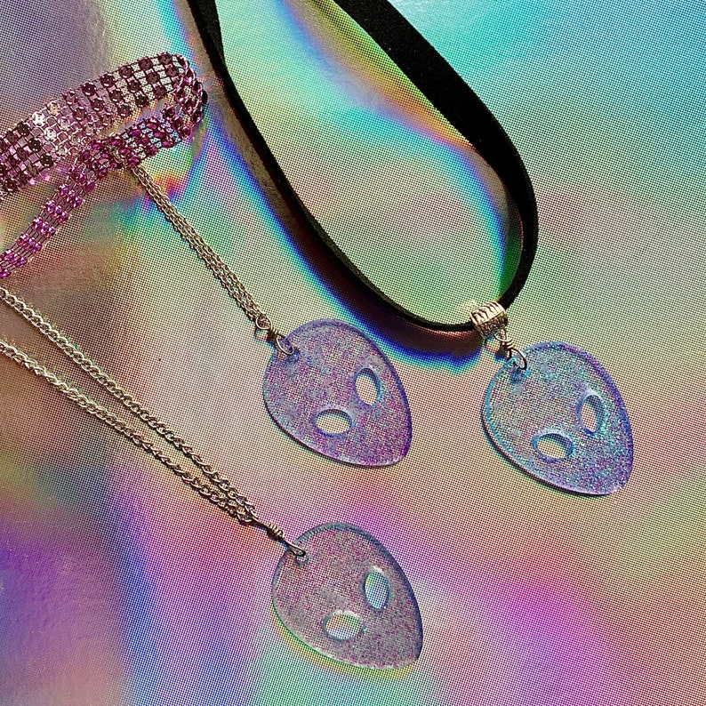 Purple Rhinestone Choker with Chained Glitter Alien