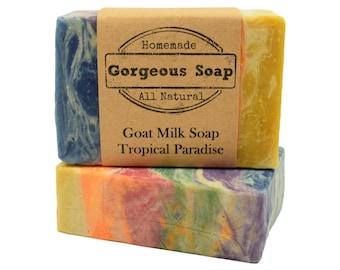 Tropical Paradise Goat Milk Soap - All Natural Soap, Handmade Soap, Homemade Soap, Handcrafted Soap