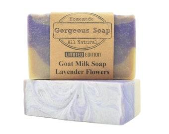 Lavender Flowers Goat Milk Soap - All Natural Soap, Handmade Soap, Homemade Soap, Handcrafted Soap