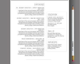 Resume Template The Sara Modern Resume | Etsy