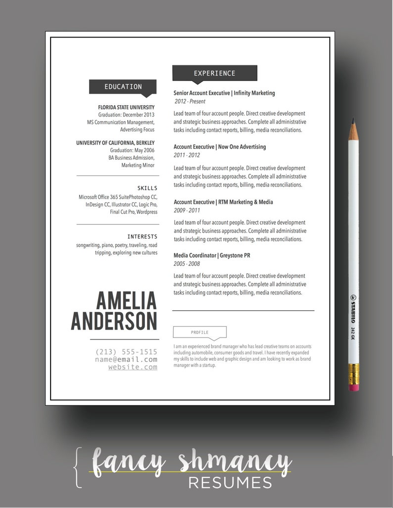 Resume Template The Jada Modern Resume Design Instant MS Word Download Resume Cover Letter Template