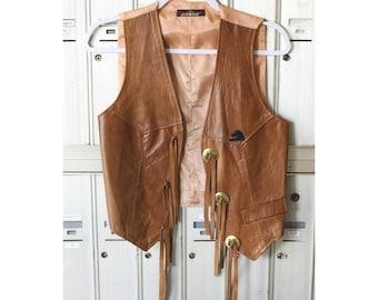 Vintage Leather Vest Tan Leather Vest Jordache Leather Vest Jordache Vest Vest with Tassels Women's Vest Stylish Vest Women's Clothing