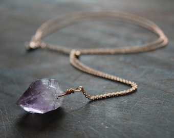 Amethyst necklace // rose gold chain, gold plated or gold-filled, raw crystal, February birthstone jewelry, boho, gypsy, bohemian jewellery