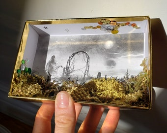 A Night Trip Diorama Magic Moonlight Herbs Herbal Plants in the Cemetery Witchy Goth Gift