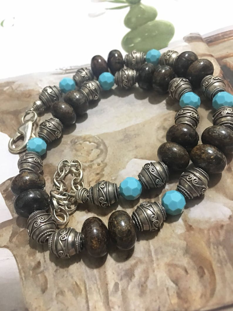 925 sterling silver beads  necklace .sn20 Dark brown bronzite beads 925 beads necklace